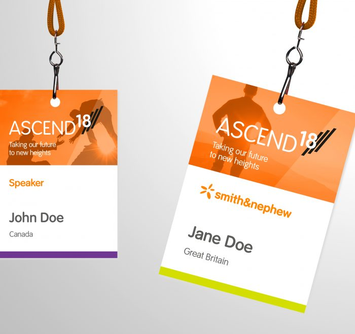 Smith & Nephew Ascend project, exhibition identification badge design, exhibition design
